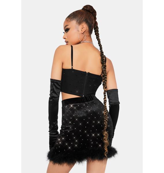 Club Queen Marabou Mini Skirt