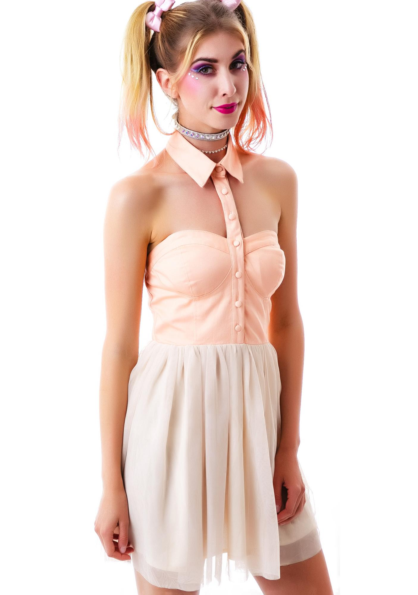 Peaches n' Cream Open Shoulder Dress