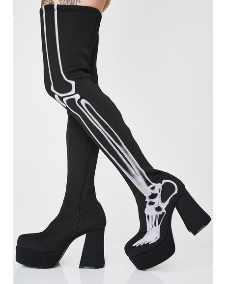 Bare Bones Thigh High Boots