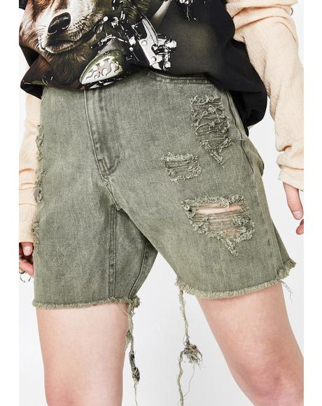 Gusset Denim Shorts