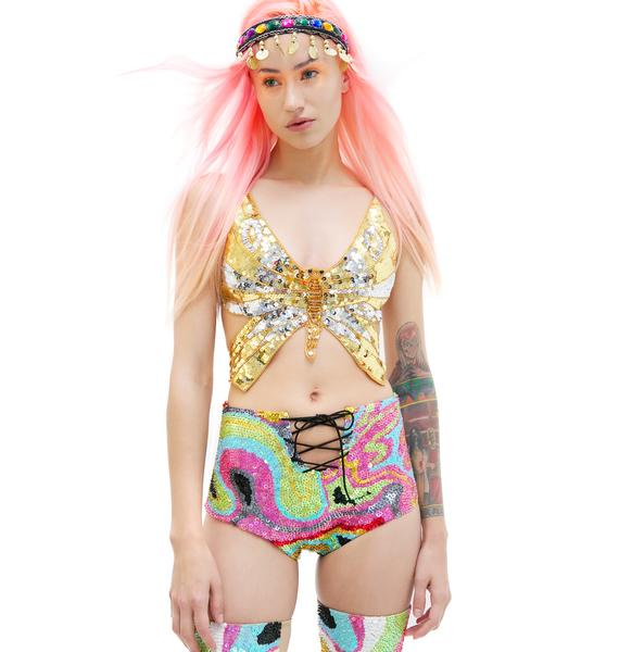 Gilded Like A Butterfly Babe Sequin Top