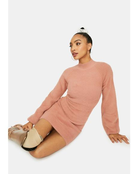 Mauve Dreams Mock Neck Sweater Dress