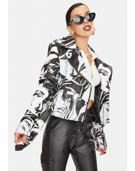 Don't Cha Graphic Moto Jacket