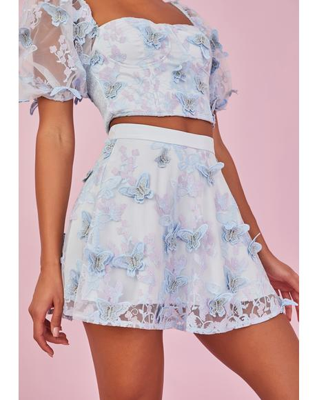 Take Me Away Butterfly Mini Skirt