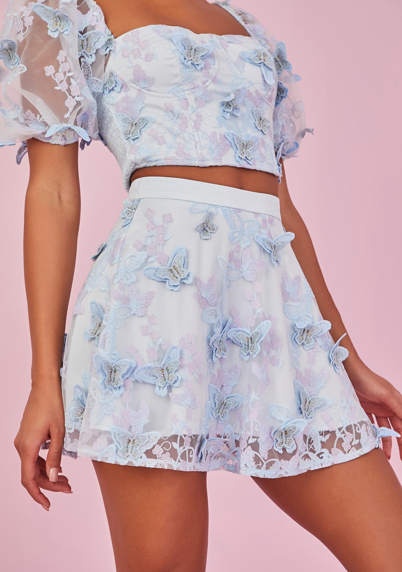 Sugar Thrillz Take Me Away Butterfly Mini Skirt