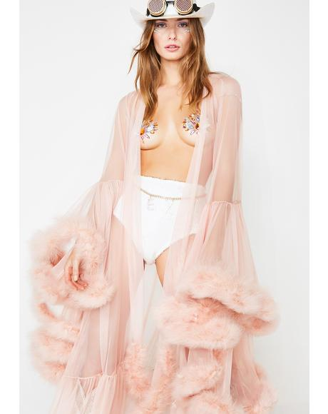 Champagne Campaign Feather Robe