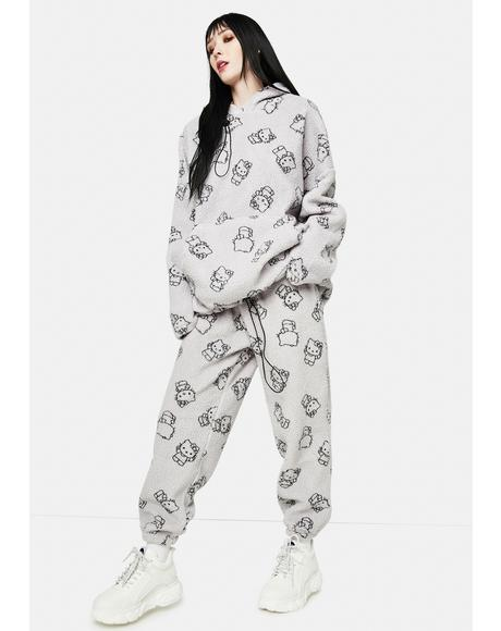 Grey Hello Kitty Printed Fleece Joggers