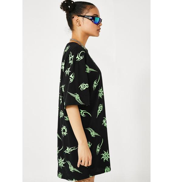 Motel Tribal Neon Sunny Kiss Tee Dress