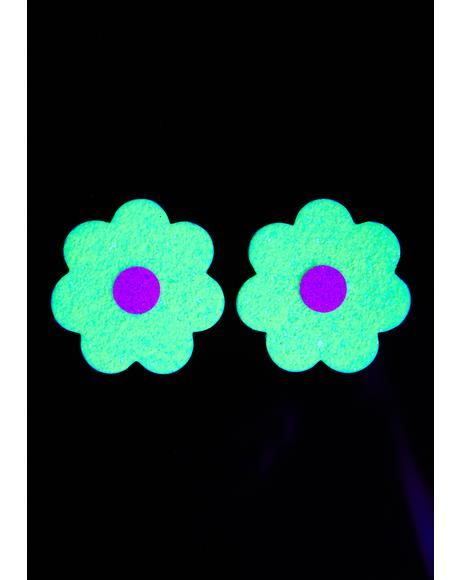 Lemon Lime Sparkle Flower UV Reactive Pasties