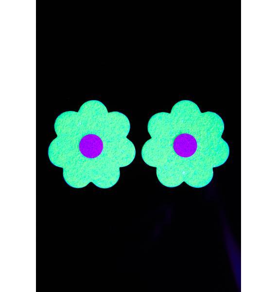 Neva Nude Lemon Lime Sparkle Flower UV Reactive Pasties
