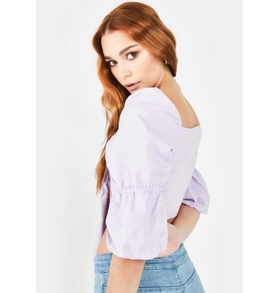 Glamorous Lilac Tie Front Top