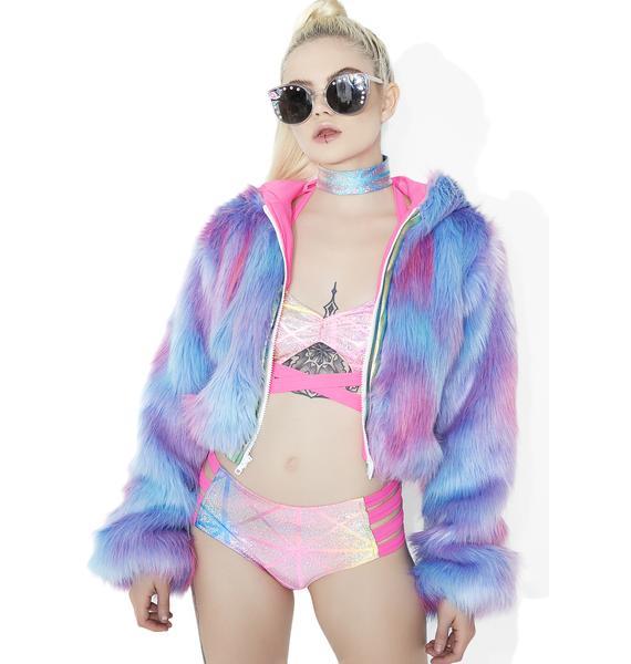 J Valentine Cotton Candy Faux-Fur Cropped Jacket