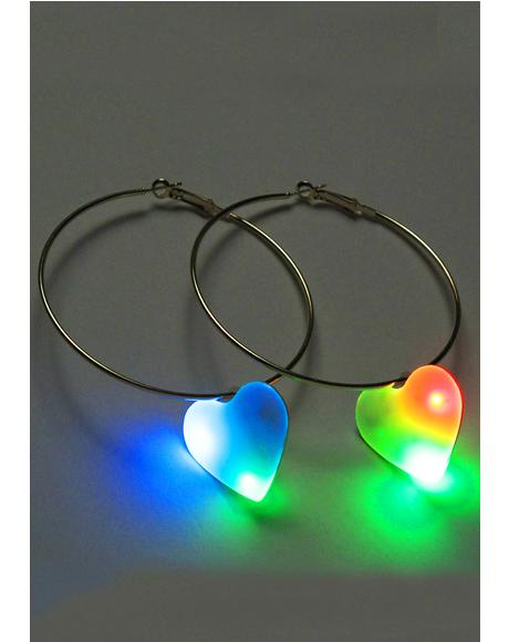 L.E.D Love Hoop Earrings