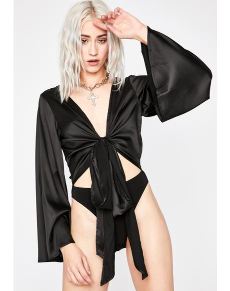 Midnight Totally Tempted Satin Bodysuit