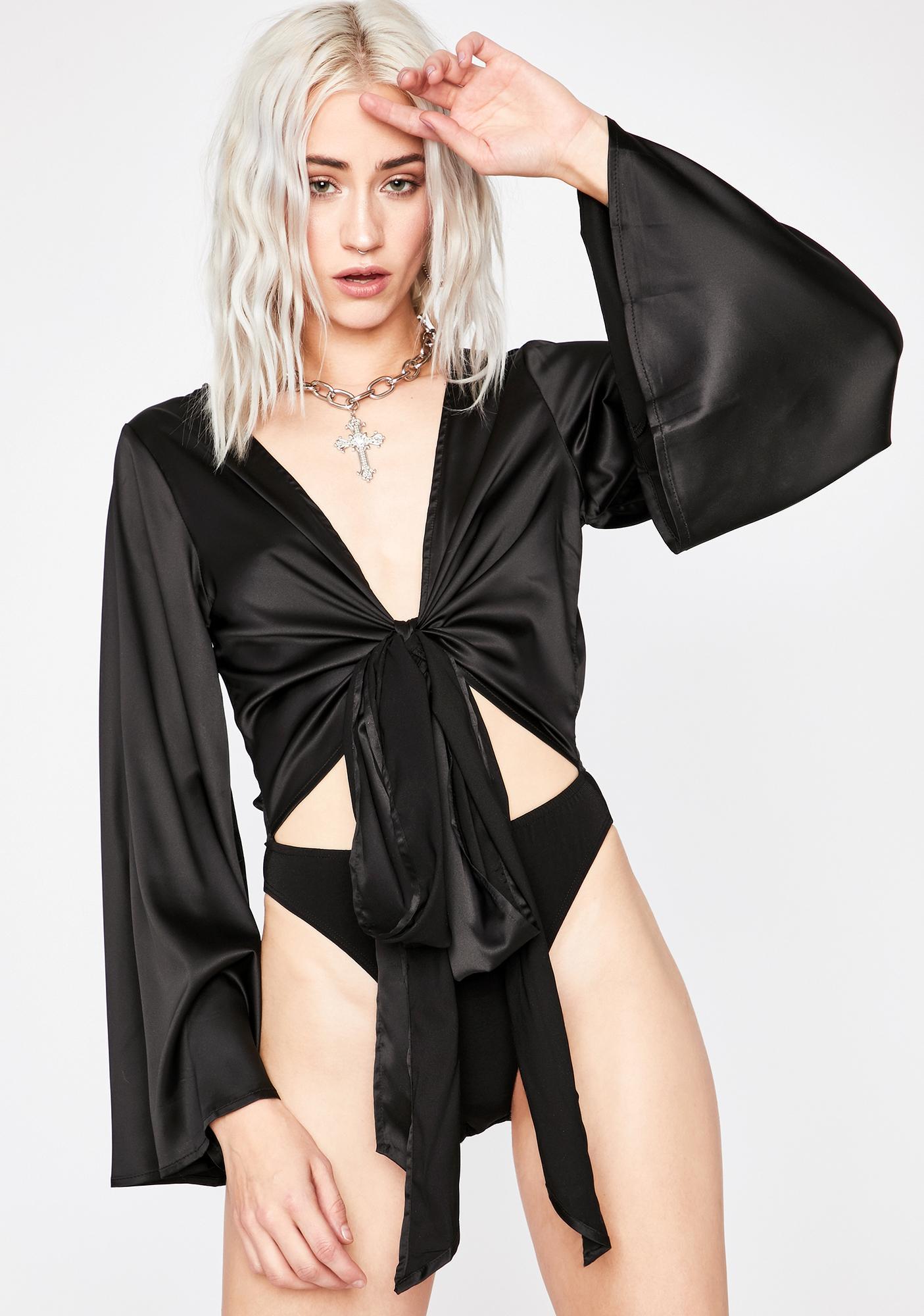 Midnight Totally Tempted Satin Bodysuit