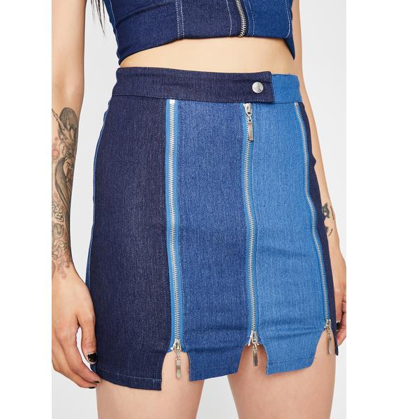 Zip Trip Denim Skirt