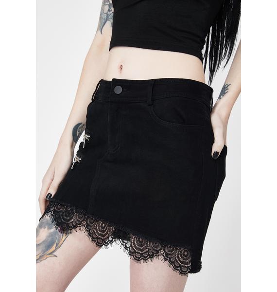 Punk Rave Denim Zipper Mini Skirt