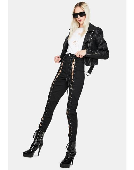 Reach My Level Lace Up Jeans