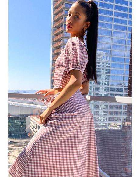 Hot Prairie Romance Gingham Skirt
