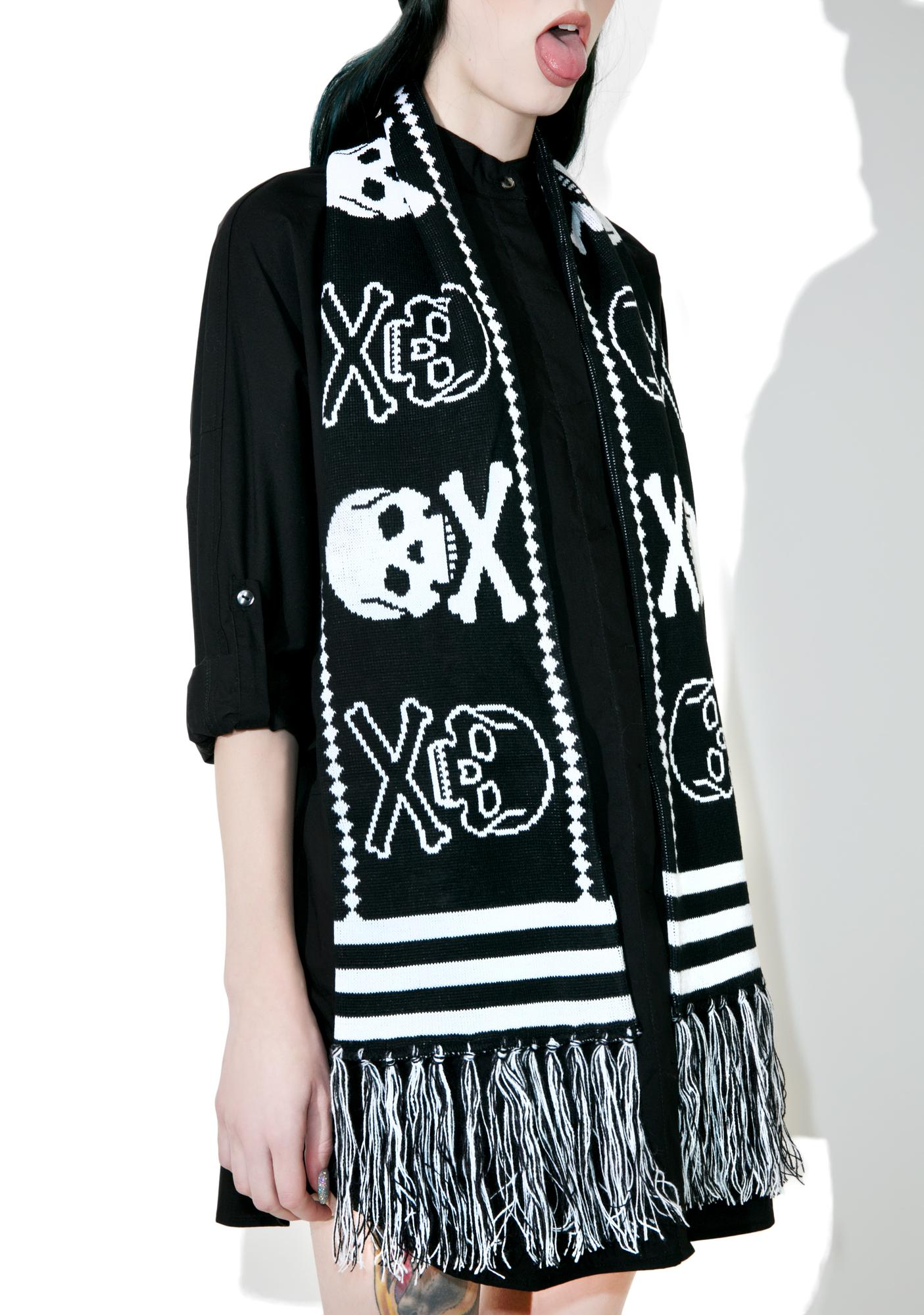 Sourpuss Clothing Skelly Knit Scarf