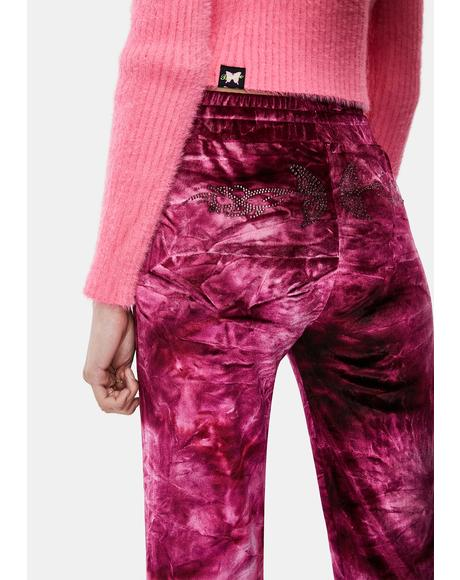 Magenta Tie Dye Velour Track Pants
