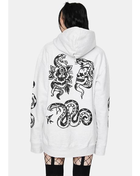 Snake Tattoo Graphic Hoodie