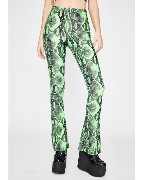 Emerald Snake Flare Leggings Pants