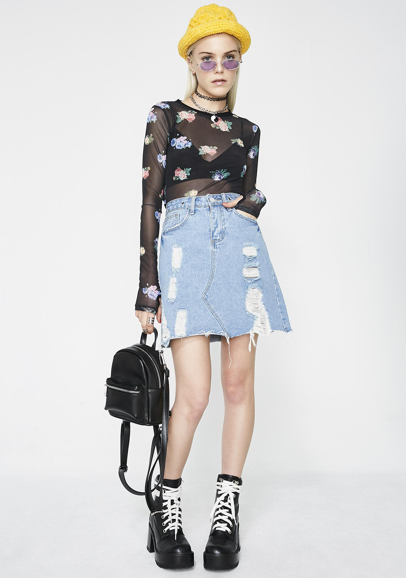 Goin' West Denim Skirt