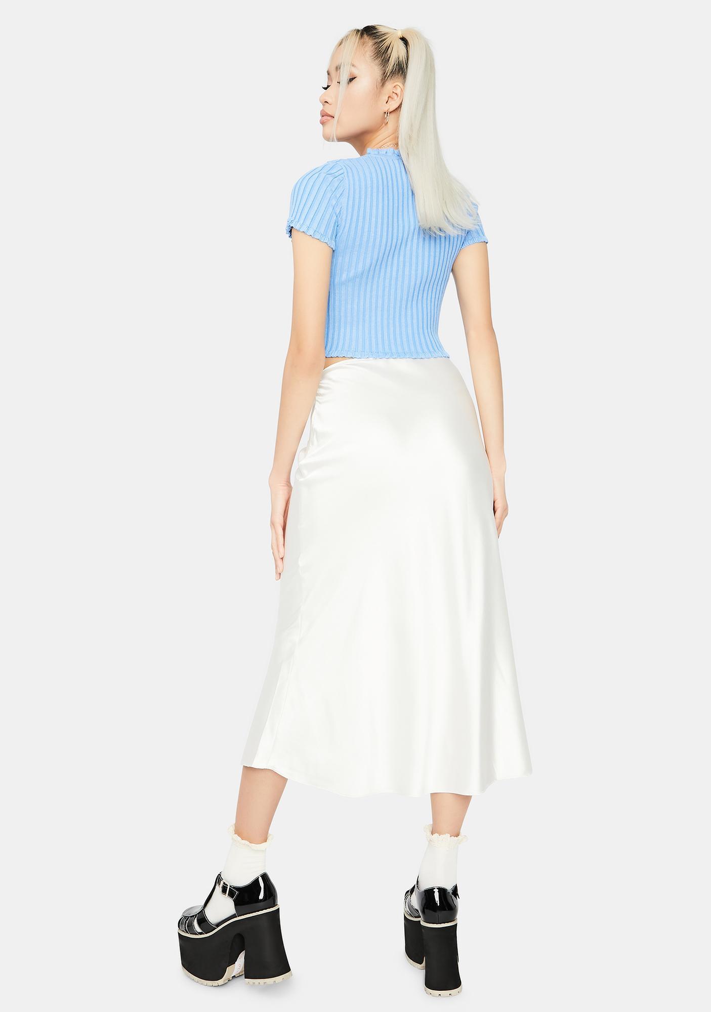 For The Record Satin Midi Skirt