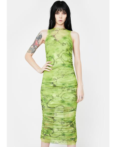 Green Crescent Mesh Midi Dress