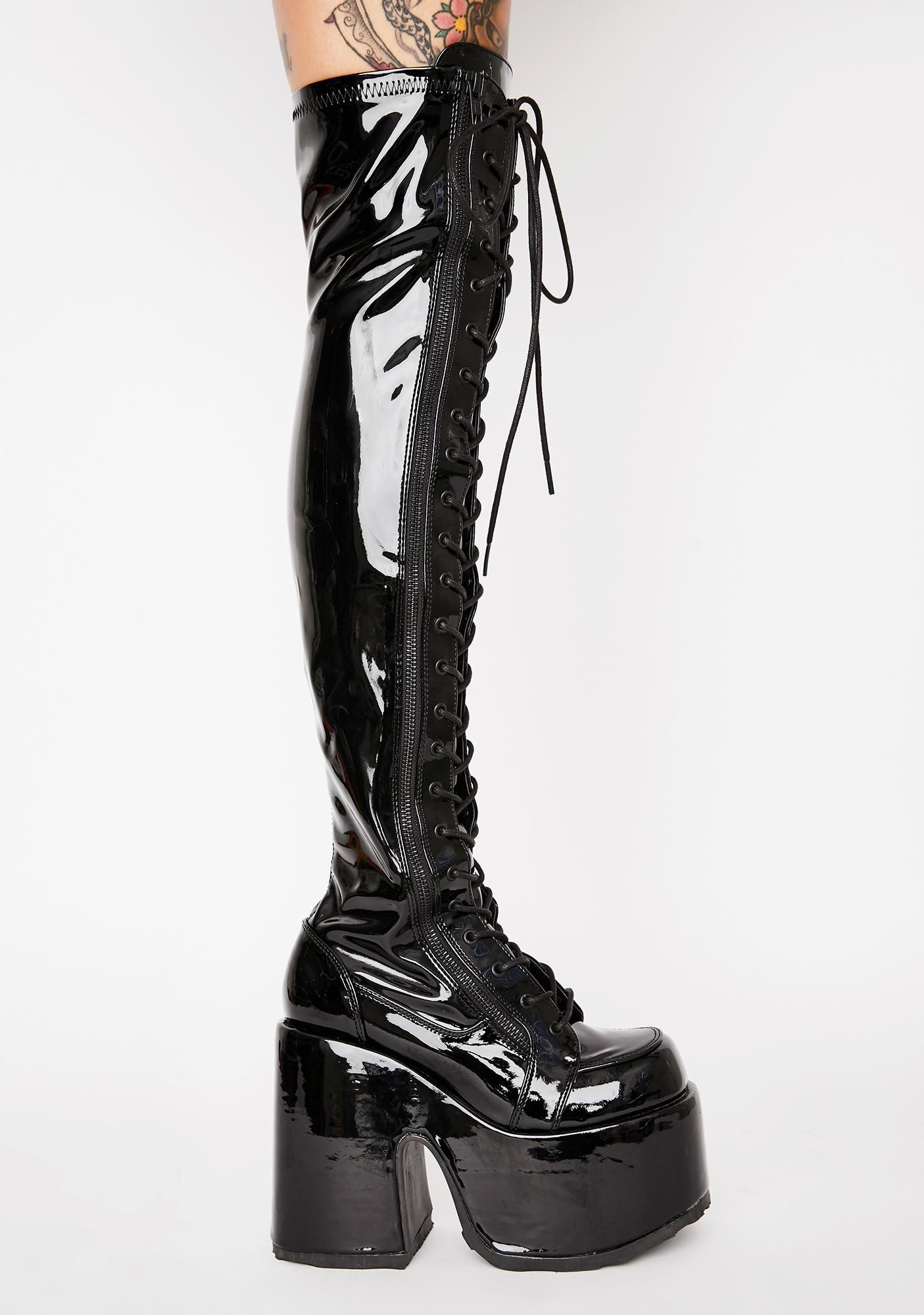 Demonia Patent Rave Royalty Thigh High Boots