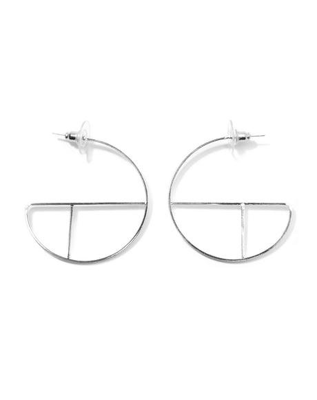 Turn Around Silver Geometric Hoops