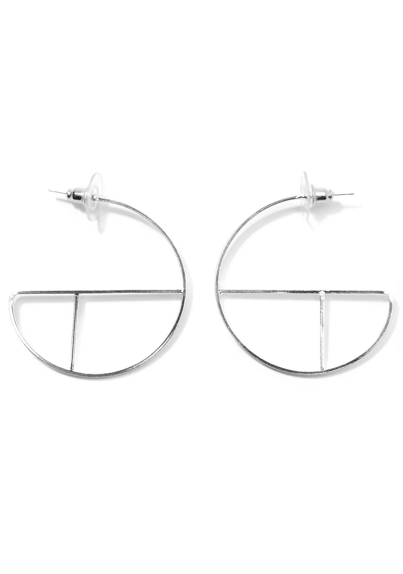 Turn Around Silver Geometric Hoops