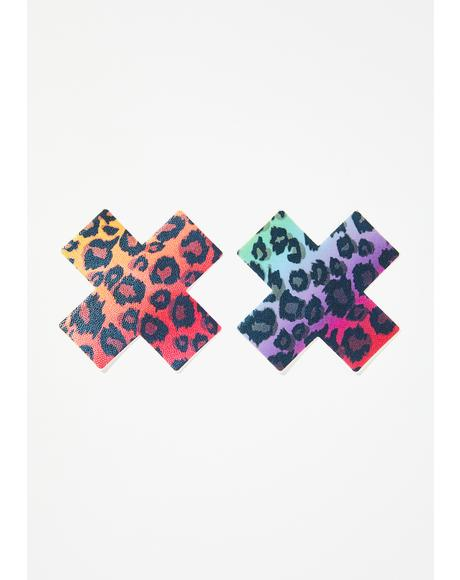 Cheetah Rainbow Cross Pasties