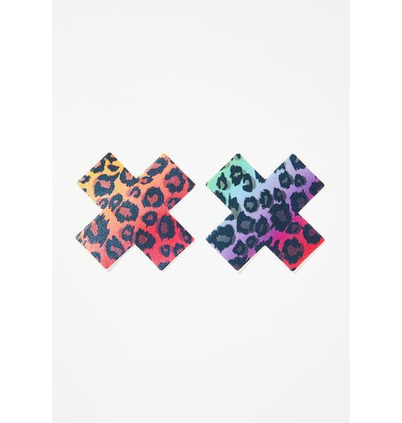 Pastease Cheetah Rainbow Cross Pasties