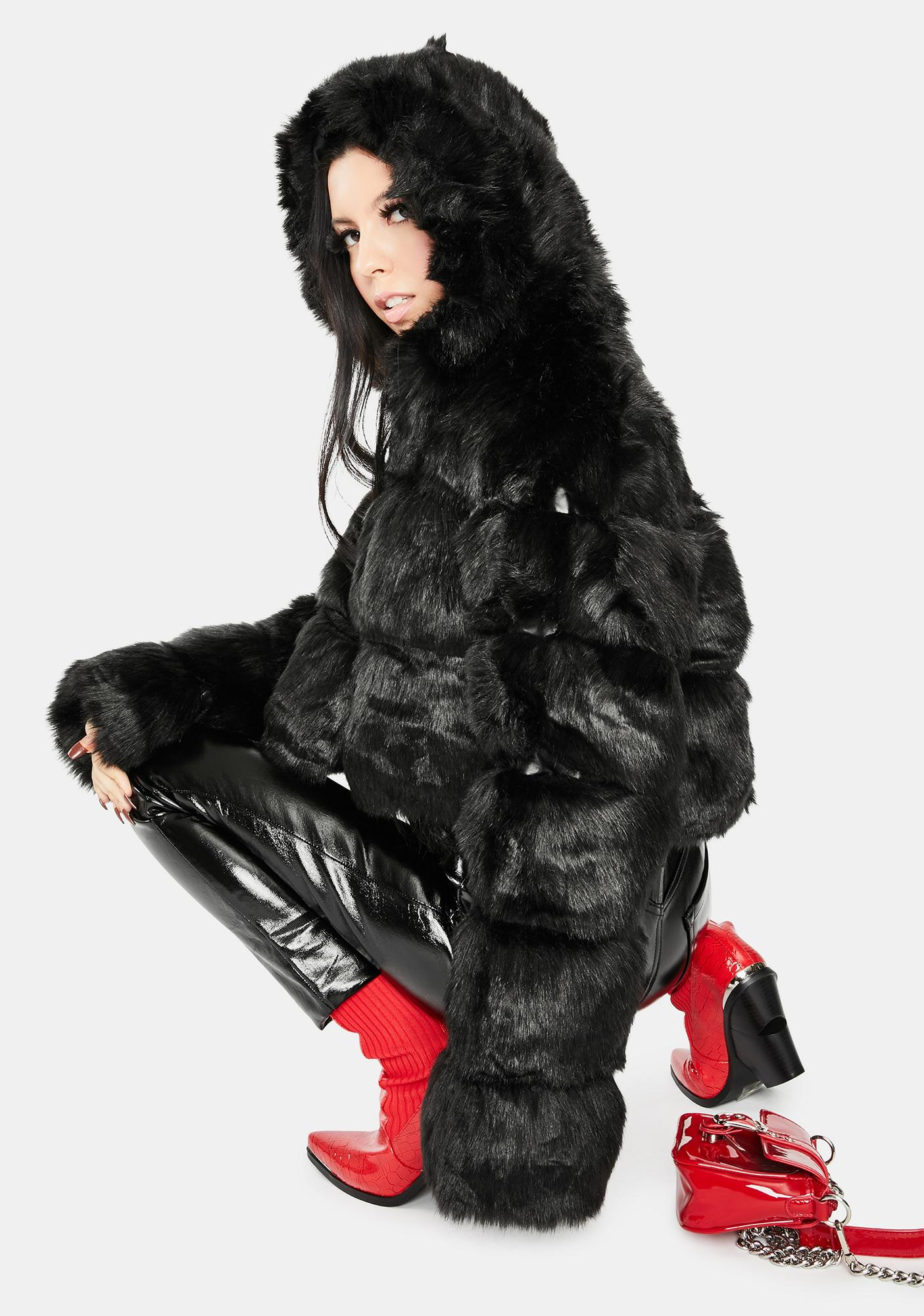 AZALEA WANG Black Bape Faux Fur Jacket