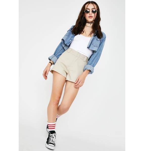 Dickies Girl Khaki High Rise Worker Shorts