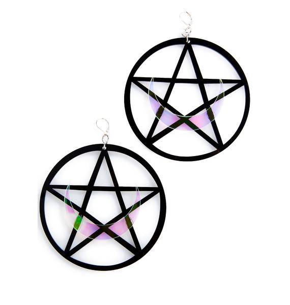 Marina Fini Pentagram Moon Earrings