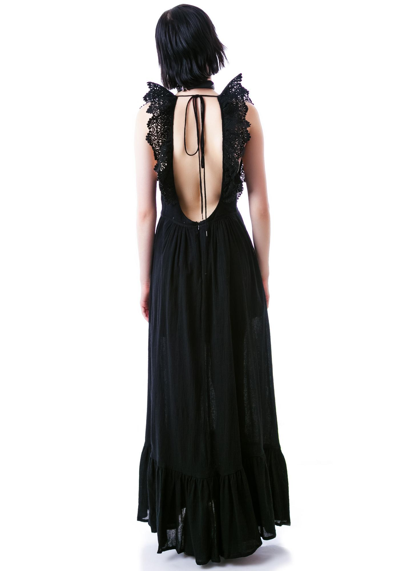 Noir Ruffle Maxi Dress