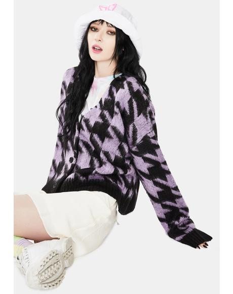 Inception Houndstooth Knit Cardigan