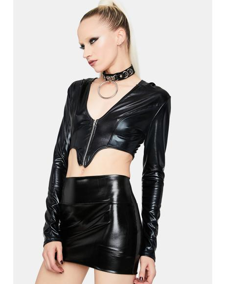 The New Me Faux Leather Crop Top