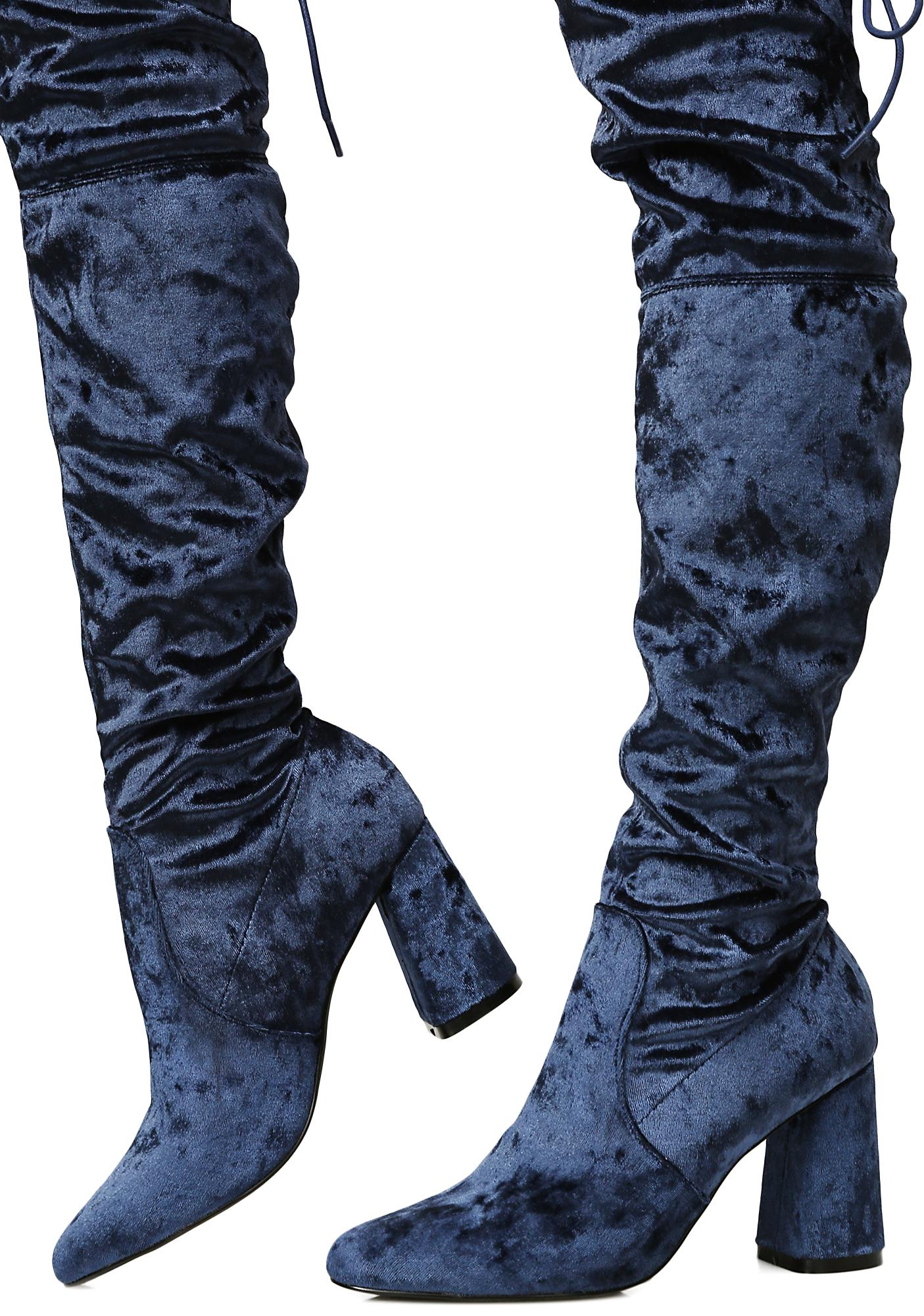 Privileged Velvet Thigh High Boots