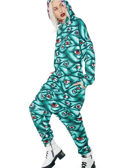Green Eyeball Onesie Costume