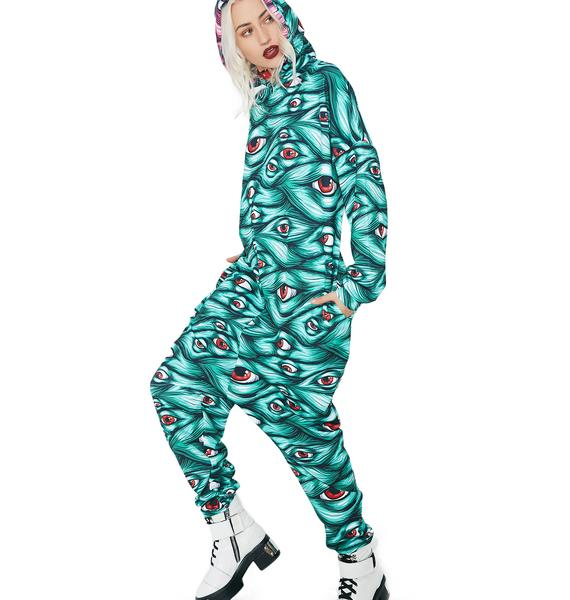 Badinka Green Eyeball Onesie Costume