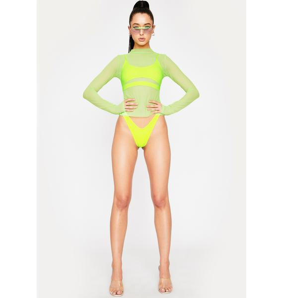 OH SHIT Lime Long Sleeve Mesh Top