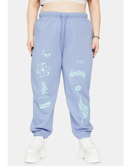 Curve Pale Blue Sweatpants