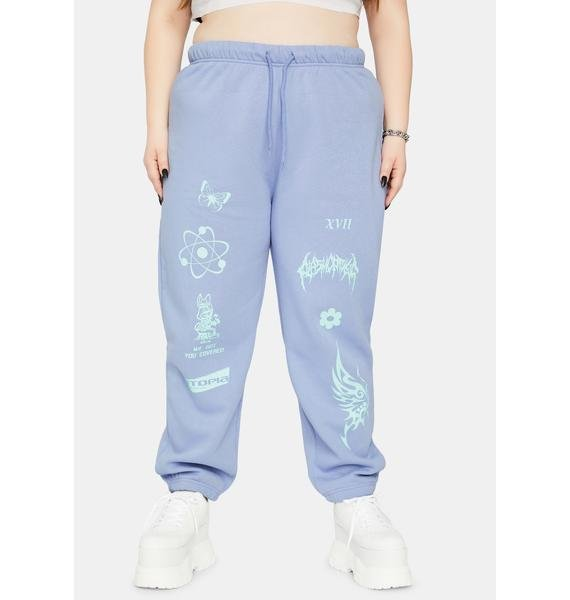 NEW GIRL ORDER Curve Pale Blue Sweatpants