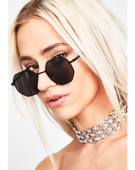 Bad Flashy Girl Octagon Sunglasses