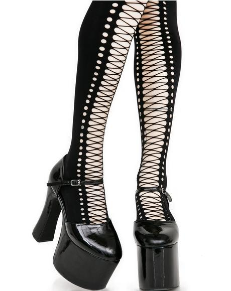 Witching Hour Faux Lace Up Tights