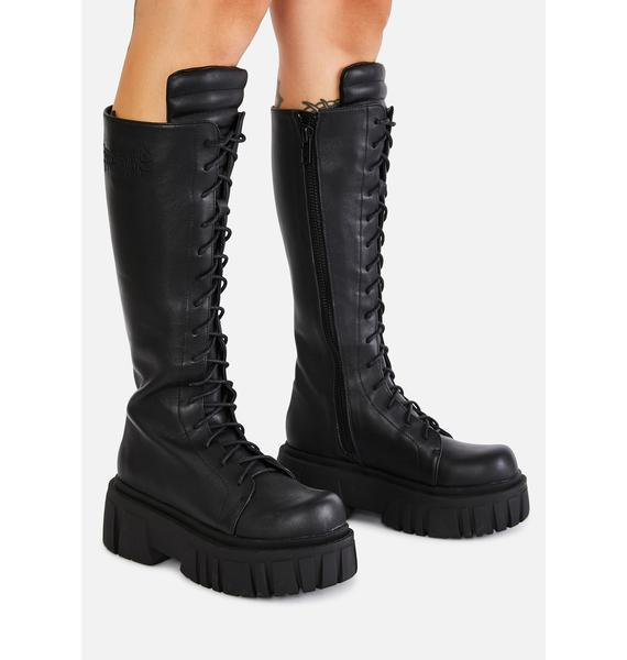 DARKER WAVS Bassline Leather Combat Boots